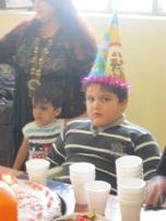 The slightly terrified birthday boy.