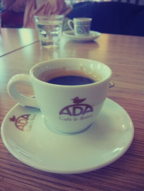 Espresso from Ada Cafe. It was actually pretty good! Coffee addiction, fed.